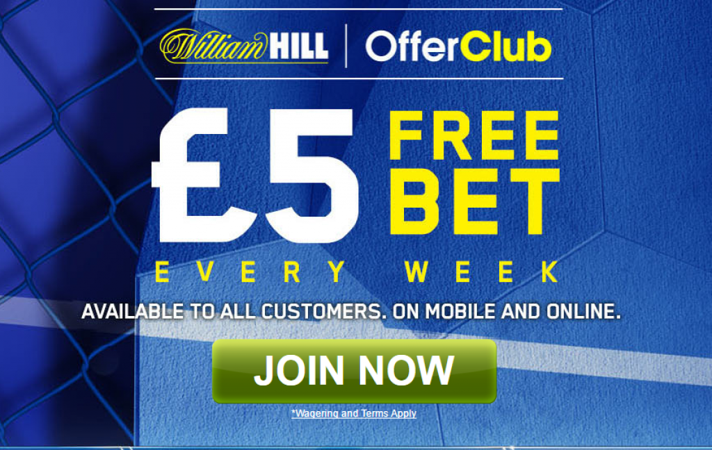 Get a £5 Free bet at the William Hill Club