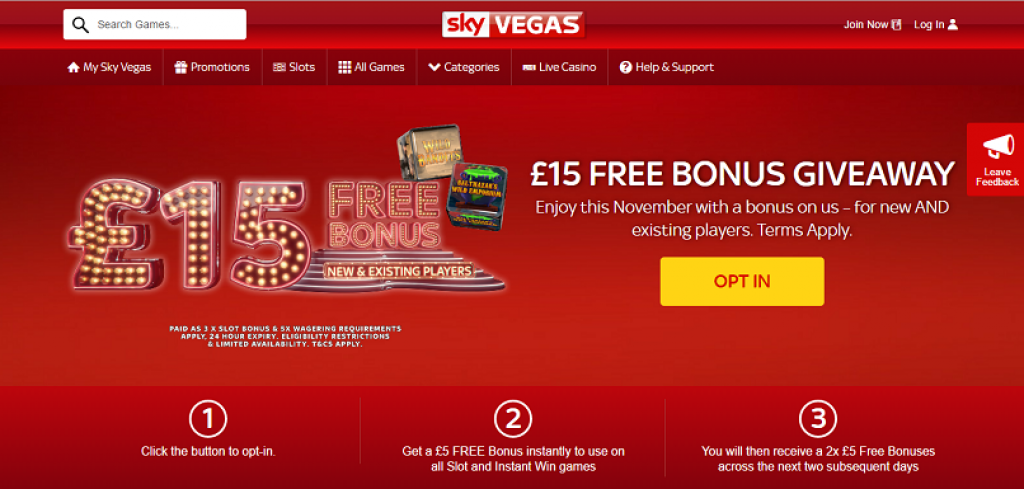 Every player can have £15 Free No Deposit at SKY Vegas this November