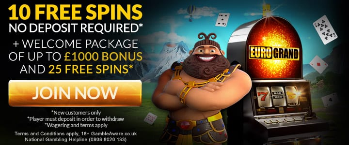 Get 10 Free Spins at the EuroGrand Casino
