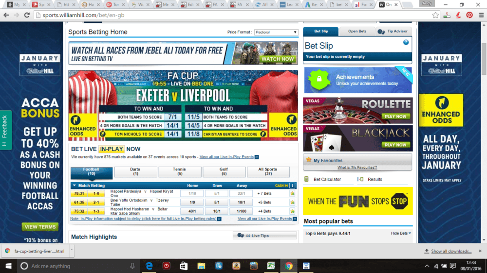 William Hill online bookmaker screen shot