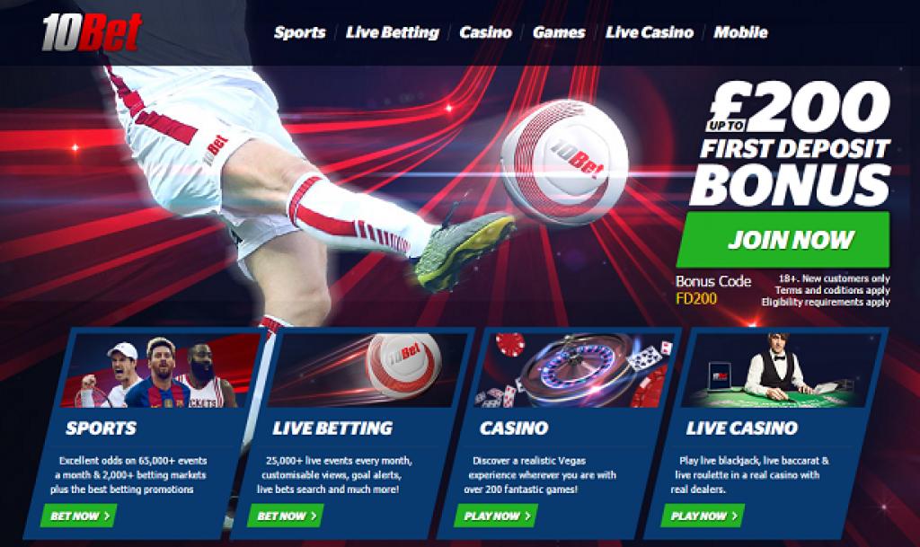 10Bet Free Bet home page bonus
