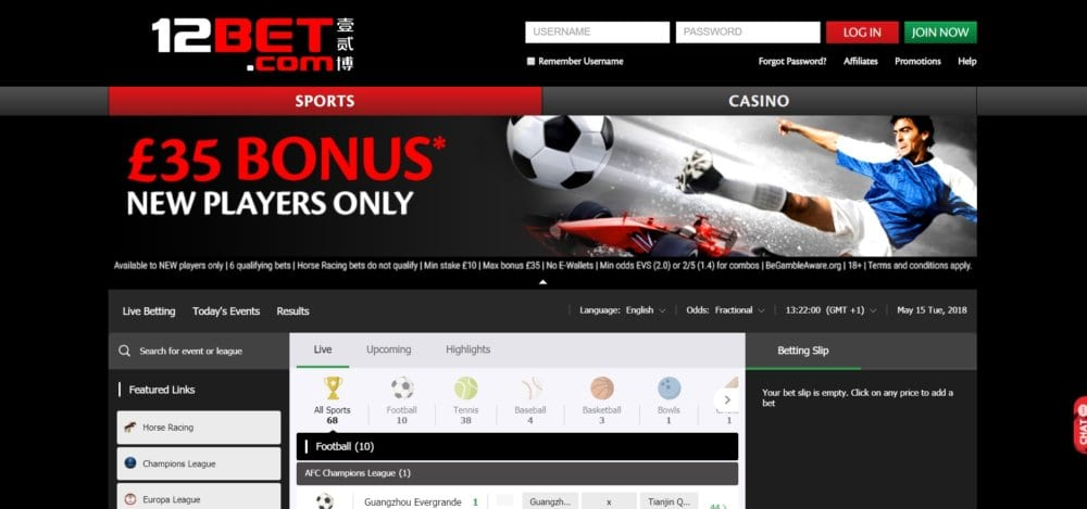 12Bet Free Bet site