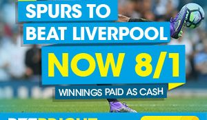 Spurs to beat Liverpool at 8/1