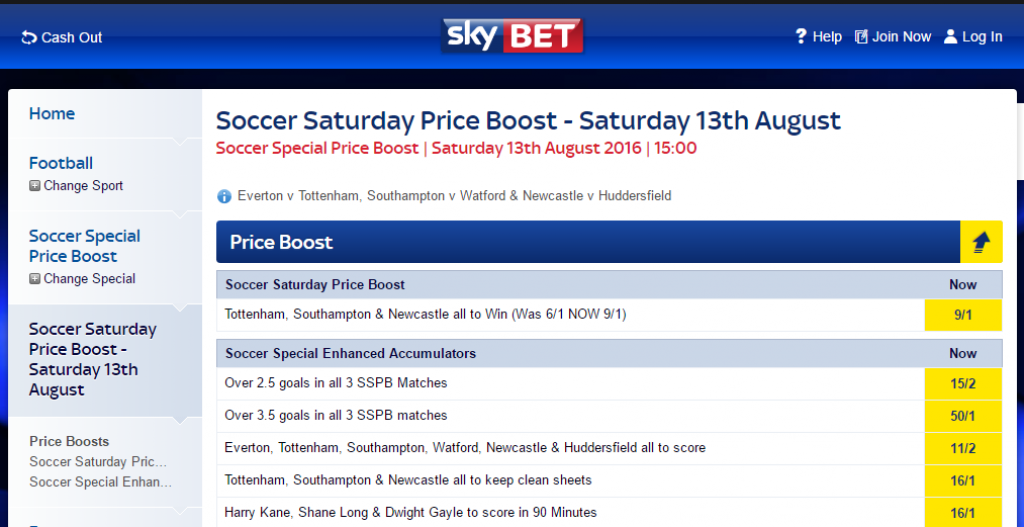 SkyBet Soccer Saturday Price Boost