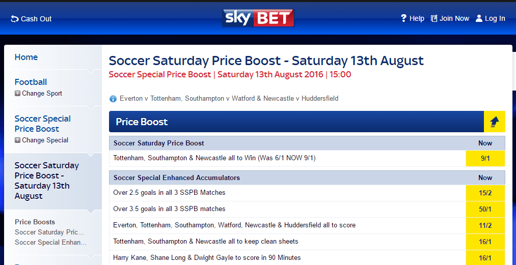 Skybet Soccer price Boost
