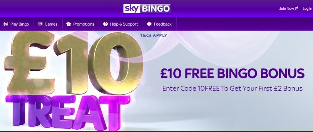 ₤10 No Deposit Sky Bingo Bonus