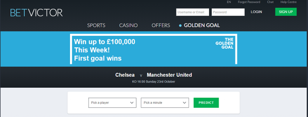 Play Golden Goal Betvictor and win £100,000
