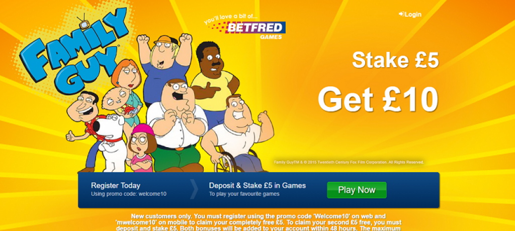 Play Family Guy Casino game with £10 free at Betfred