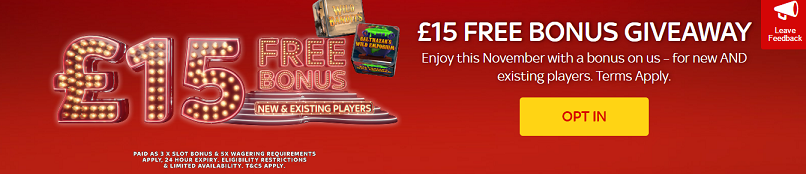 Every player can have £15 without deposit at SKY Vegas this November