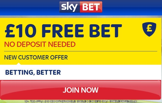 Sky Bet Free 10 pound Bet No deposit