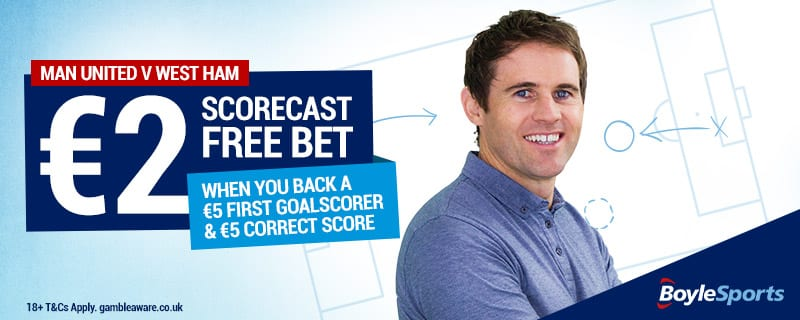 Free Scorecast Bet - Man United v West Ham