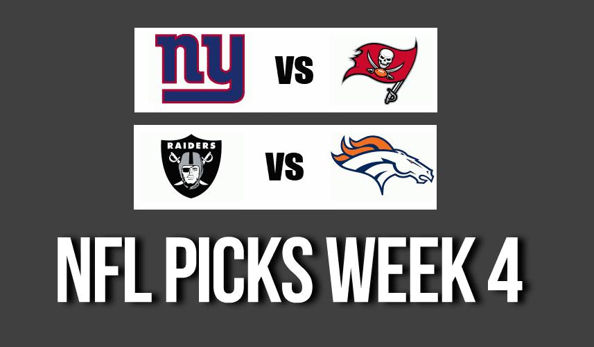 NFL Picks Week 4 – Tampa Bay, Raiders, Seahawks