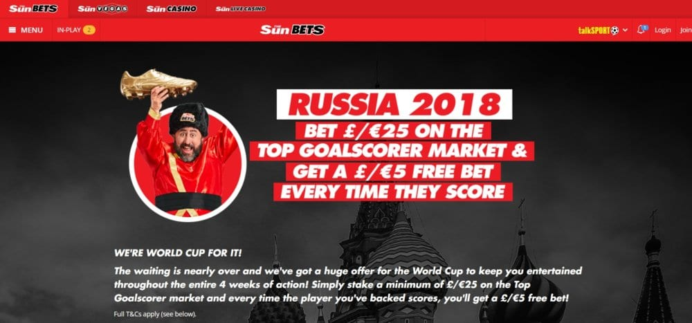 SunBets World Cup Offer – Free £5 Bet Every time they Score