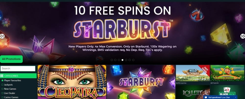 10 Free Spins On Starburst