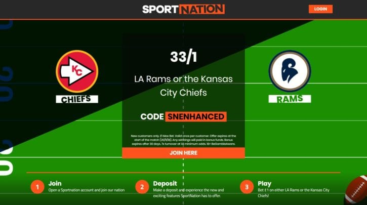 NFL Odds on Rams and Kansas City Chiefs Enhanced to 33/1