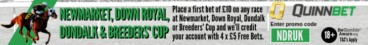 Bet 10 on Newmarket, Down Royal, Dundalk or The Breeders Cup and get 4 x £5 Free Bets