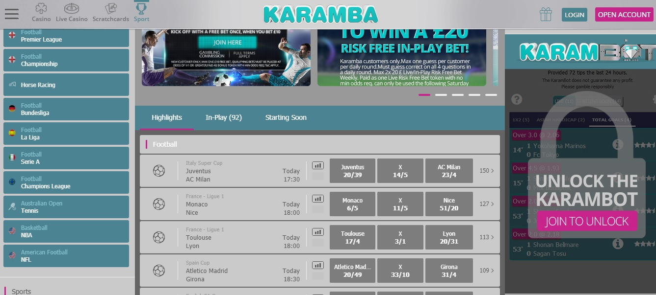 karambot is a football betting calculator that helps you find football bets to place