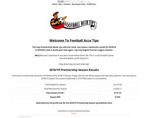 Football Acca Tips – English Premier League Tipster Service -