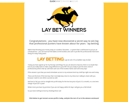 Lay Bet Winners Horse Racing Tips