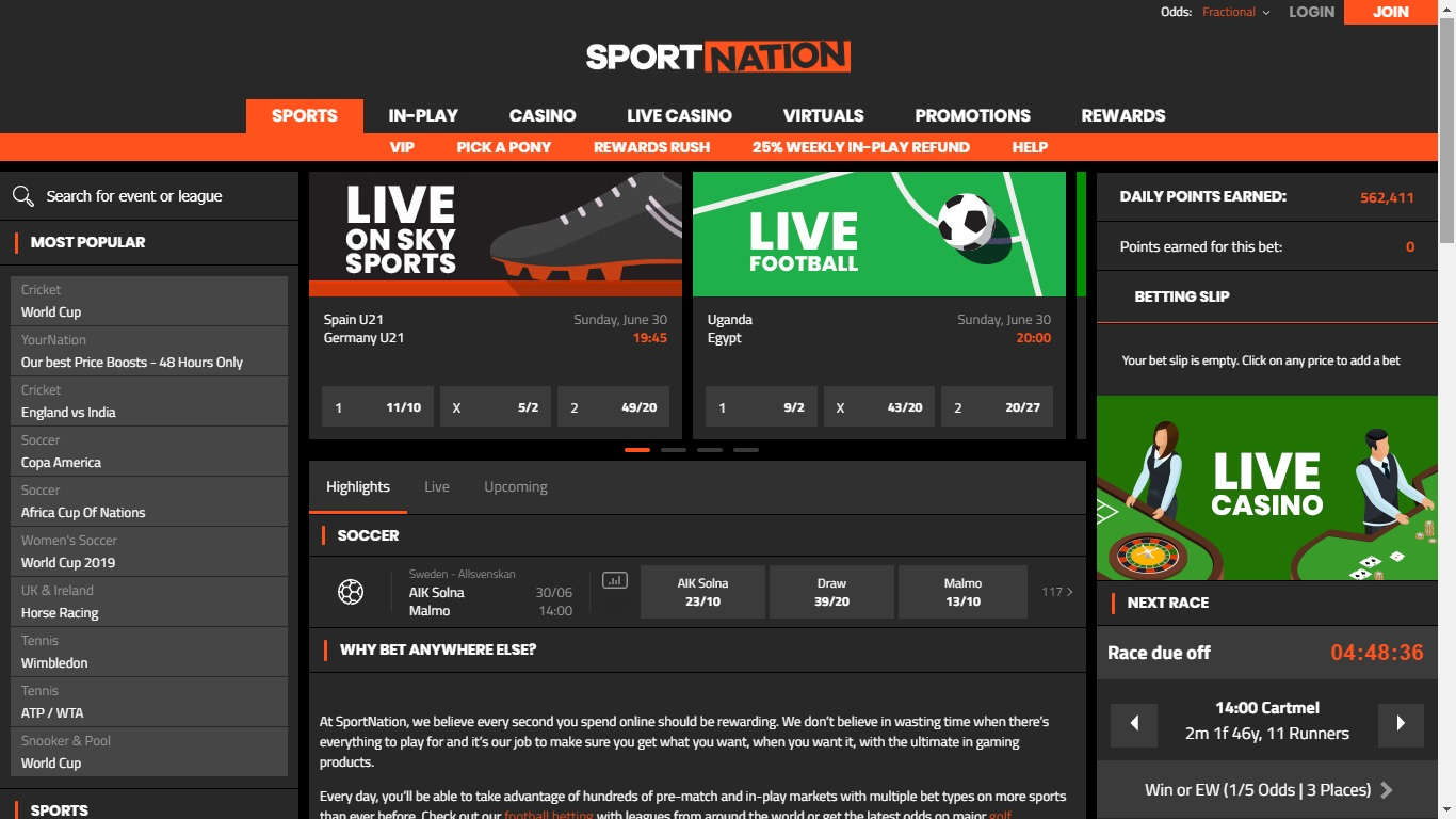 Sportnation Sign up Offer – Up to £100 in Welcome Cash