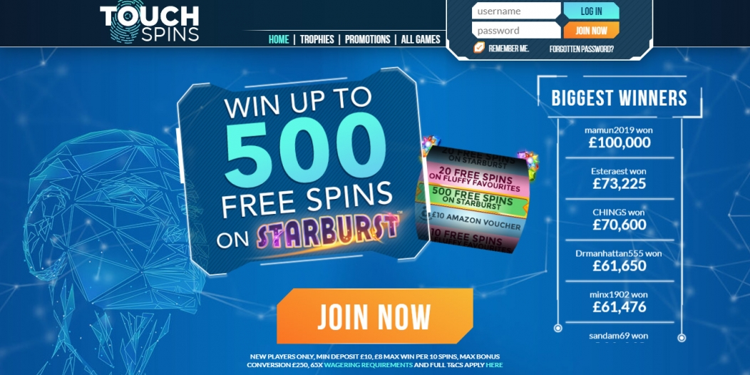 Touch Spins 500 Free Spins Offer