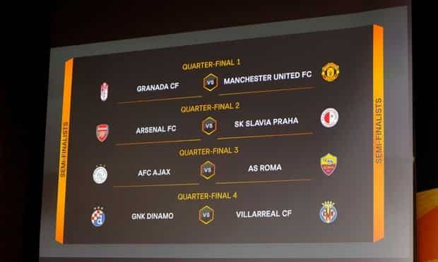 2020-21 UEFA Europa League quarter final draw revealed Manchester United play Granada while Arsenal face Slavia Prague Manchester United were paired with Spanish side Granada in Friday's draw for the Final 8 of the Europa League. Ole Gunnar Solskjaer's Red Devils, who eliminated AC Milan in the Round of 16, are due to play the La Liga side away in the first leg on April 8. Andalusian club Granada find themselves in an European competition for the first time in their footballing history after finishing 7th in La Liga last season. The Southern Spanish club notably beat PSV Eindhoven in an away clash in the group stage and eliminated Napoli in the last 32 before defeating Norwegian side Molde in the round of 16. Incidentally, Granada coach Diego Martinez has won the Europa League before, during his tenure as an assistant coach at another La Liga club Sevilla. United are one of only two previous winners left in the competition along with 1992 champions Ajax. Meanwhile, Dutch giants Ajax who had lost to Manchester United in the finals of the Europa Cup in 2017 will now take on Serie A club Roma in the quarter finals. Mikel Arteta's Arsenal will host Slavia Prague in the first leg of the Round of 8 and will be very wary of the Czech side who have eliminated teams like Leicester City and Scottish champions Rangers in their previous two rounds. La Liga side Villarreal will take on Croatian outfit Dinamo Zagreb who pulled off a sensational home win to eliminate Tottenham Hotspur in the Round of 16. Villareal's coach Unai Emery took Arsenal to the final of the Europa League in 2019, when they lost to Chelsea in Baku. First-leg matches will be played on Thursday April 8, and the second legs will take place the week after, on Thursday April 15.